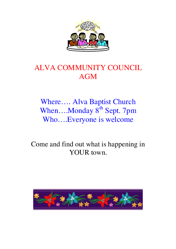 ALVA COMMUNITY COUNCIL AGM Public Poster