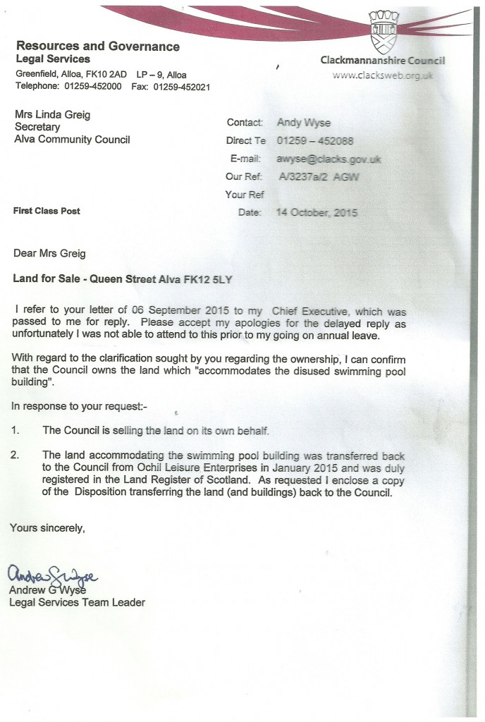 Letter from Council